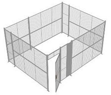 "4-Wall Welded Wire Security Cage, No Ceiling, 16'6"" x 12'6"" x 8'5-1/4"" with 3' Hinged Gate"