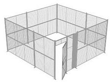"4-Wall Welded Wire Security Cage, No Ceiling, 16'6"" x 16'6"" x 8'5-1/4"" with 3' Hinged Gate"