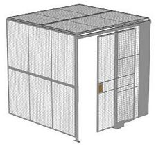 "2-Wall Welded Wire Security Cage, w/Ceiling, 8'2"" x 8'2"" x 8'5-1/4"" with 4' Sliding Gate"