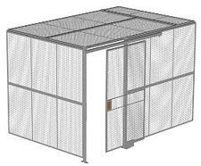 "2-Wall Welded Wire Security Cage, w/Ceiling, 12'4"" x 8'2"" x 8'5-1/4"" with 4' Sliding Gate"
