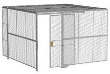 "2-Wall Welded Wire Security Cage, w/Ceiling, 12'4"" x 12'4"" x 8'5-1/4"" with 4' Sliding Gate"