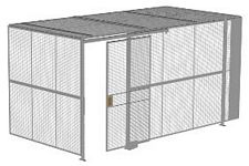 "2-Wall Welded Wire Security Cage, w/Ceiling, 16'4"" x 8'2"" x 8'5-1/4"" with 4' Sliding Gate"