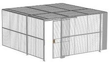 "2-Wall Welded Wire Security Cage, w/Ceiling, 16'4"" x 16'4"" x 8'5-1/4"" with 4' Sliding Gate"