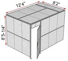 "2-Wall Welded Wire Security Cage, w/Ceiling, 12'4"" x 8'2"" x 8'5-1/4"" with 3' Hinged Gate"