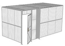 "2-Wall Welded Wire Security Cage, w/Ceiling, 16'4"" x 8'2"" x 8'5-1/4"" with 3' Hinged Gate"