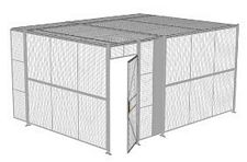 "2-Wall Welded Wire Security Cage, w/Ceiling, 16'4"" x 12'4"" x 8'5-1/4"" with 3' Hinged Gate"