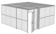 "2-Wall Welded Wire Security Cage, w/Ceiling, 16'4"" x 16'4"" x 8'5-1/4"" with 3' Hinged Gate"