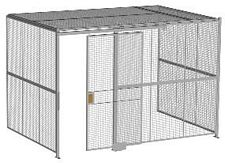 "3-Wall Welded Wire Security Cage, w/Ceiling, 12'6"" x 8'2"" x 8'5-1/4"" with 4' Sliding Gate"