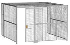 "3-Wall Welded Wire Security Cage, w/Ceiling, 12'6"" x 12'4"" x 8'5-1/4"" with 4' Sliding Gate"