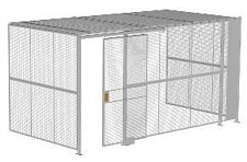 "3-Wall Welded Wire Security Cage, w/Ceiling, 16'6"" x 8'2"" x 8'5-1/4"" with 4' Sliding Gate"