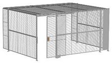 "3-Wall Welded Wire Security Cage, w/Ceiling, 16'6"" x 12'4"" x 8'5-1/4"" with 4' Sliding Gate"