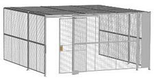 "3-Wall Welded Wire Security Cage, w/Ceiling, 16'6"" x 16'4"" x 8'5-1/4"" with 4' Sliding Gate"