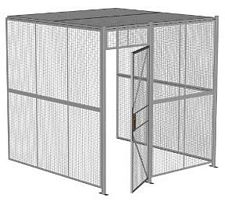 "3-Wall Welded Wire Security Cage, w/Ceiling, 8'4"" x 8'2"" x 8'5-1/4"" with 3' Hinged Gate"