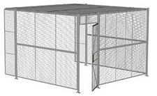 "3-Wall Welded Wire Security Cage, w/Ceiling, 12'6"" x 12'4"" x 8'5-1/4"" with 3' Hinged Gate"