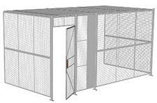 "3-Wall Welded Wire Security Cage, w/Ceiling, 16'6"" x 8'2"" x 8'5-1/4"" with 3' Hinged Gate"
