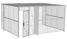 "3-Wall Welded Wire Security Cage, w/Ceiling, 16'6"" x 12'4"" x 8'5-1/4"" with 3' Hinged Gate"