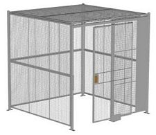 "4-Wall Welded Wire Security Cage, w/Ceiling, 8'4"" x 8'4"" x 8'5-1/4"" with 4' Sliding Gate"