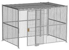 "4-Wall Welded Wire Security Cage, w/Ceiling, 12'6"" x 8'4"" x 8'5-1/4"" with 4' Sliding Gate"