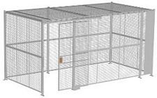 "4-Wall Welded Wire Security Cage, w/Ceiling, 16'6"" x 8'4"" x 8'5-1/4"" with 4' Sliding Gate"