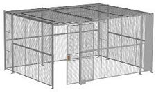 "4-Wall Welded Wire Security Cage, w/Ceiling, 16'6"" x 12'6"" x 8'5-1/4"" with 4' Sliding Gate"