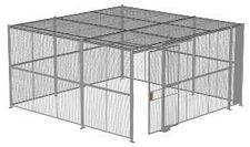 "4-Wall Welded Wire Security Cage, w/Ceiling, 16'6"" x 16'6"" x 8'5-1/4"" with 4' Sliding Gate"