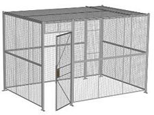 "4-Wall Welded Wire Security Cage, w/Ceiling, 12'6"" x 8'4"" x 8'5-1/4"" with 3' Hinged Gate"