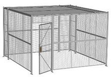 "4-Wall Welded Wire Security Cage, w/Ceiling, 12'6"" x 12'6"" x 8'5-1/4"" with 3' Hinged Gate"