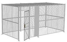 "4-Wall Welded Wire Security Cage, w/Ceiling, 16'6"" x 8'4"" x 8'5-1/4"" with 3' Hinged Gate"