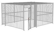 "4-Wall Welded Wire Security Cage, w/Ceiling, 16'6"" x 12'6"" x 8'5-1/4"" with 3' Hinged Gate"