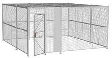 "4-Wall Welded Wire Security Cage, w/Ceiling, 16'6"" x 16'6"" x 8'5-1/4"" with 3' Hinged Gate"