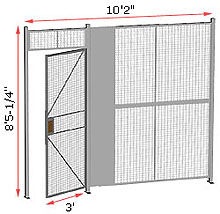 "1-Wall Welded Wire Security Partition, 10'-0"" wide, 8'5-1/4"" tall - 3' Hinged Gate"