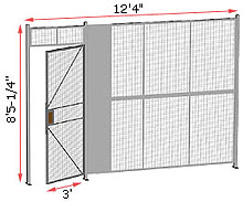 "1-Wall Welded Wire Security Partition, 12'-0"" wide, 8'5-1/4"" tall - 3' Hinged Gate"