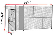 "1-Wall Welded Wire Security Partition, 16'-0"" wide, 10'5-1/4"" tall - 3' Hinged Gate"