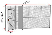 "1-Wall Welded Wire Security Partition, 16'-0"" wide, 8'5-1/4"" tall - 3' Hinged Gate"