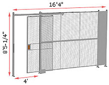 "1-Wall Welded Wire Security Partition, 16'-0"" wide, 8'5-1/4"" tall - 4' Sliding Gate"