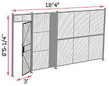 "1-Wall Welded Wire Security Partition, 18'-0"" wide, 8'5-1/4"" tall - 3' Hinged Gate"