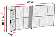 "1-Wall Welded Wire Security Partition, 20'-0"" wide, 10'5-1/4"" tall - 3' Hinged Gate"