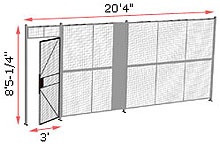 "1-Wall Welded Wire Security Partition, 20'-0"" wide, 8'5-1/4"" tall - 3' Hinged Gate"