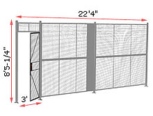 "1-Wall Welded Wire Security Partition, 22'-0"" wide, 8'5-1/4"" tall - 3' Hinged Gate"
