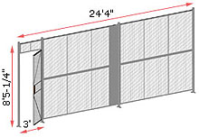 "1-Wall Welded Wire Security Partition, 24'-0"" wide, 8'5-1/4"" tall - 3' Hinged Gate"