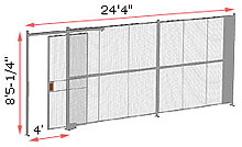 "1-Wall Welded Wire Security Partition, 24'-0"" wide, 8'5-1/4"" tall - 4' Sliding Gate"
