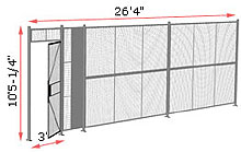 "1-Wall Welded Wire Security Partition, 26'-0"" wide, 10'5-1/4"" tall - 3' Hinged Gate"