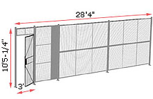 "1-Wall Welded Wire Security Partition, 28'-0"" wide, 10'5-1/4"" tall - 3' Hinged Gate"