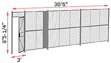 "1-Wall Welded Wire Security Partition, 30'-0"" wide, 8'5-1/4"" tall - 3' Hinged Gate"