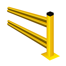 "Lite-Duty Guard Rail 42""H Section with Posts - 2 ft., Adder"