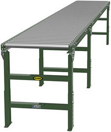 "Steel Frame Gravity Roller Conveyor - 15' long, 18"" wide, with supports"