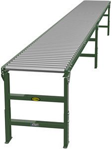 "1.9"" Gravity Roller Conveyor - 20' long, 18"" wide, with supports"