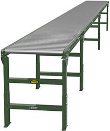 "Gravity Roller Conveyor - 25' long, 12"" wide, with supports"