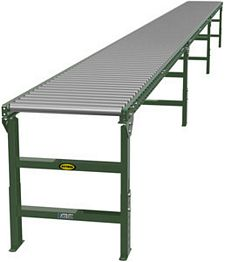 "1.9"" Galvanized Gravity Roller Conveyor - 30' long, 18"" wide, with supports"