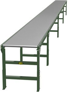 "1.9"" Galvanized Gravity Roller Conveyor - 35' long, 18"" wide, with supports"